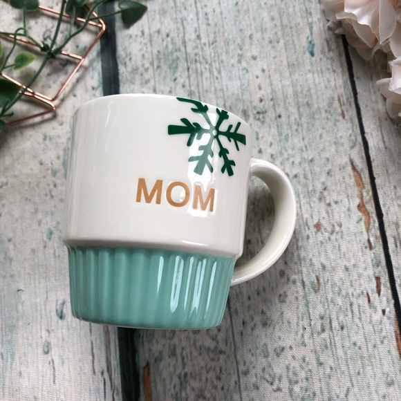 3/$25 Mom mug mint teal gold Hallmark snowflake